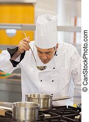 chef, sobre, probar, sopa