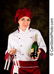 Chef Somelier - Christmas - photo of young female chef with...