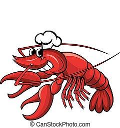 chef, sonriente, cangrejo río