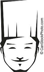 chef, sonriente, joven, toque