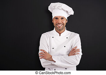 chef, sonriente, retrato, uniforme