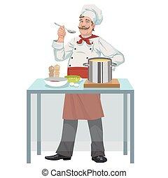 chef, sopa, sonriente