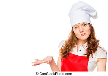 chef, sorridente, bianco, isolato, fondo