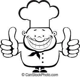 chef, sorridente, esposizione, su, pollici