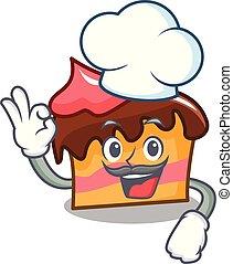 Chef sponge cake character cartoon