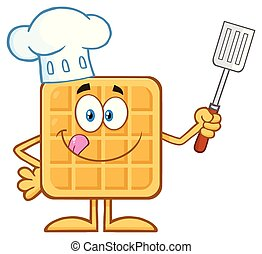 Chef Square Waffle Cartoon Mascot Character Holding A Slotted Spatula
