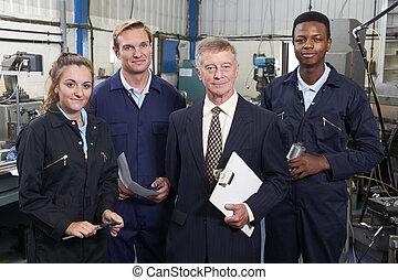 chef, stående, ingenjörsvetenskap, fabrik, personal