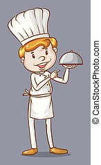 Chef standing holding a dish