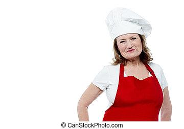 chef, stile, invecchiato, proposta, femmina