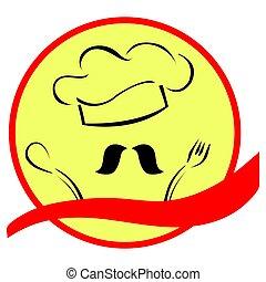 chef, stilizzato, bandiera, cappello