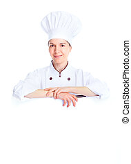 Chef woman.  Isolated over white background. Gourmet.