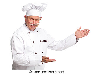 Chef - Mature professional chef man. Isolated over white...