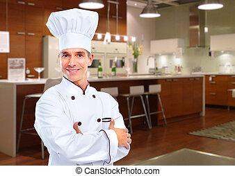 Chef - Mature professional chef man in modern restaurant