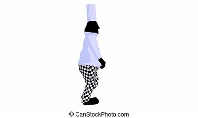 Chef walking on a white background