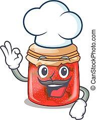 Chef strawberry marmalade in glass jar of cartoon