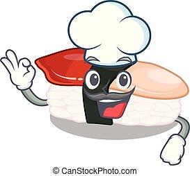 Chef sushi hokkigai cartoon on a plate