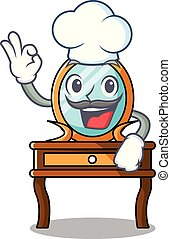 chef, tabla, carácter, caricatura, aliño