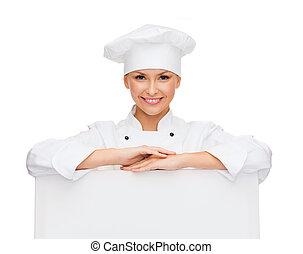 chef, tabla, hembra, blanco, sonriente, blanco
