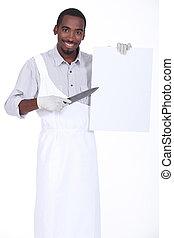 chef, tagliere, affilato, bianco, coltello