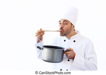 Chef Taste Soup - Chef In White Toque Holding A Pot And...