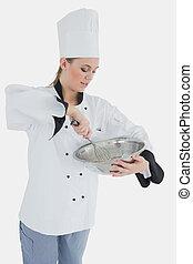 chef, tazón, mezclar, tenencia, batidor, alambre