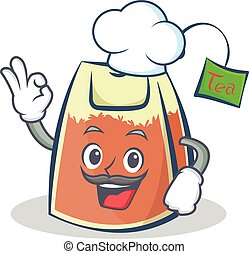 Chef tea bag character cartoon