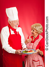 Chef Teaches Italian Cooking to Housewife
