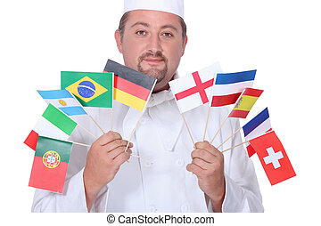 chef, tenencia, banderas