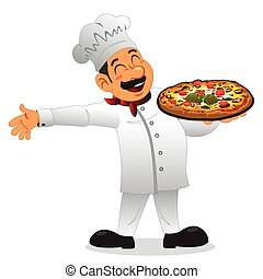 chef, tenere piastra, di, pizza