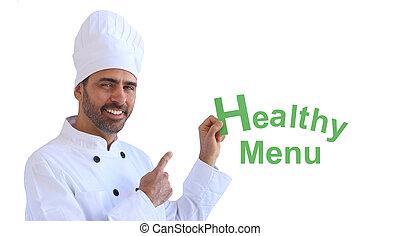 chef, teniendo arriba, un, señal, refrán, sano, menú