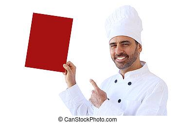 chef, teniendo arriba, un, vacío, señal, en, rojo