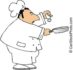 This illustration depicts a chef shaking salt into a pan.