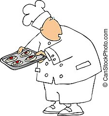 Chef - This illustration depicts a chef with a baking sheet...