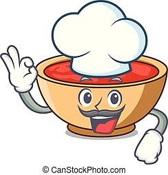 Chef tomato soup character cartoon