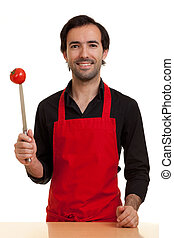 chef, tomatoe, cuchillo