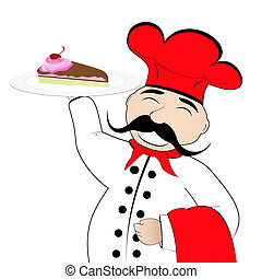 chef, torta, piastra
