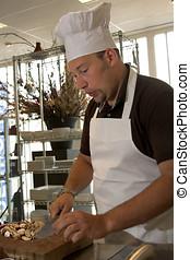 chef;, trabajo, silbido, italiano