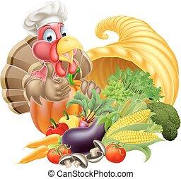 Chef Turkey and Cornucopia