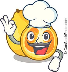 Chef ugli in the mascot fruit basket illustration vector