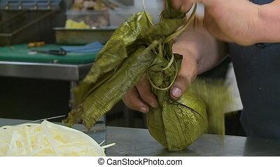 Chef Unwrapping Boiled Sea Food, Callao, Peru - Extreme...