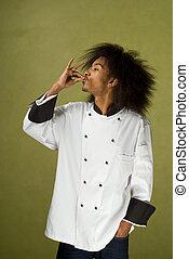 chef, usando, mani, perfezione, mostra