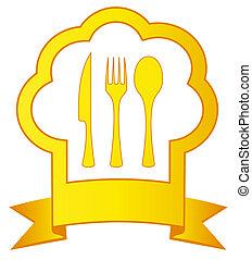 chef, utensilio, sombrero, oro, cocina