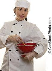chef, utensilios, cocina