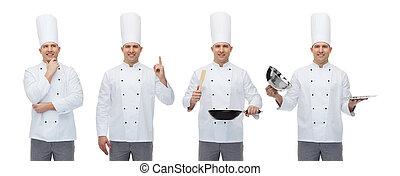 chef, utensilios, macho, cocina, feliz