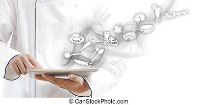 chef, utilizar, tableta, digital