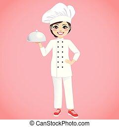 chef, vassoio, femmina, presa a terra, argento