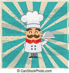 chef vector - cartoon chef over grunge background. vector ...