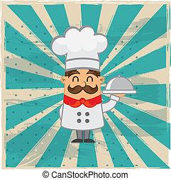 cartoon chef over grunge background. vector illustration