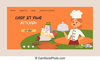 Chef vector cook character woman or man cooking food dish on kitchen of restaurant landing web page illustration backdrop of professional cooker or baker people in uniform web-page background