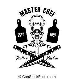 Chef vector cooking emblem, badge, label or logo